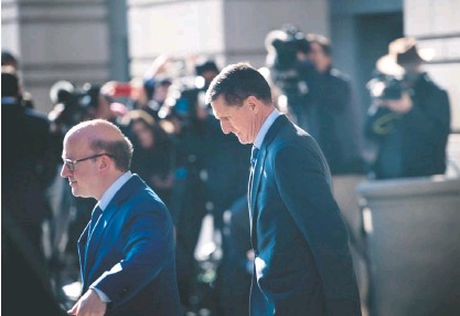 ?? BRENDAN SMIALOWSKI/AGENCE FRANCE-PRESSE/GETTY IMAGES ?? Michael Flynn, former national security adviser, leaves federal court on Dec. 1, 2017, in Washington after pleading guilty to lying over his contacts with Russia. Flynn, 60, is expected to be sentenced in federal court Tuesday. Flynn's friends say he admitted lying to halt the hemorrhaging of money from being on the wrong end of a federal investigation.