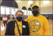 ?? EVAN BRANDT — MEDIANEWS GROUP ?? Ted Josey, right, pictured here with fellow NAACP member Sandy Bauers, helped organize Friday's vaccinations at Pottstown Middle School.