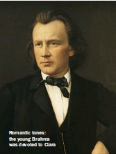 ??  ?? Romantic tones: the young Brahms was devoted to Clara