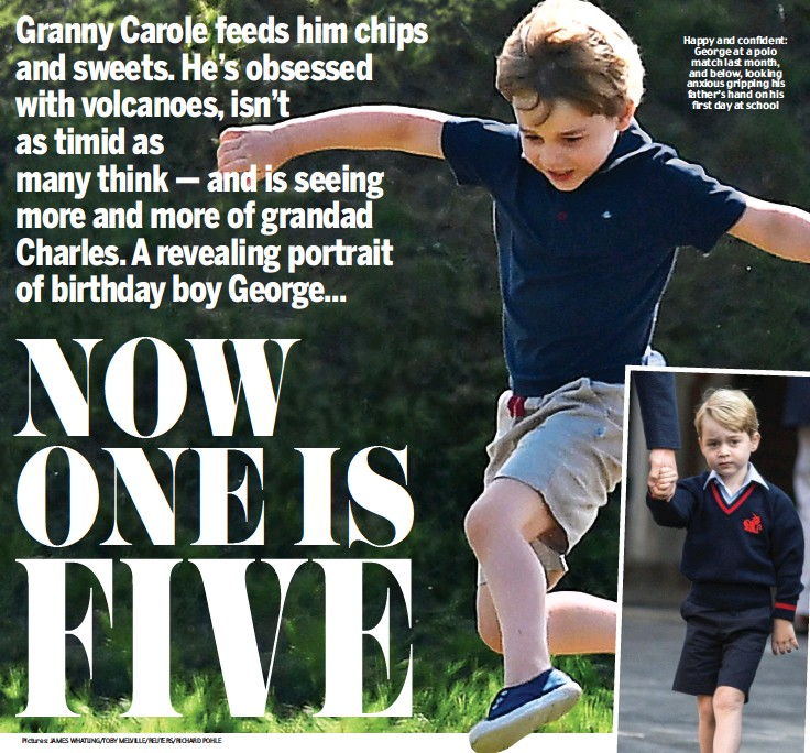 ??  ?? Happy and confident: George at a polo match last month, and below, looking anxious gripping his father's hand on his first day at school Pictures: JAMES WHATLING/TOBY MELVILLE/REUTERS/RICHARD POHLE
