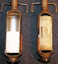 ??  ?? You do not know what is inside a non-type Approved catalytic converter or DPF until it is cut open. The item pictured left has half the brick size, compared to the approved item (on the right) and the lighter colour indicates the presence of fewer precious metals.