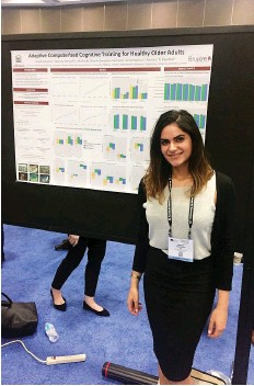 ??  ?? Dr. Sheida Rabipour presenting early results of the neuropyschological study, part of which involved monitoring subjects' improvement in brain games such as Sudoku.