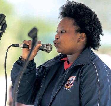 ??  ?? Ntokozo Twala, a grade 10 pupil performs at the market