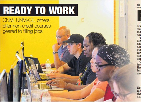 ?? COURTESY OF CNM ?? Deep Dive Coding students at CNM's STEMulus Center in downtown Albuquerque.