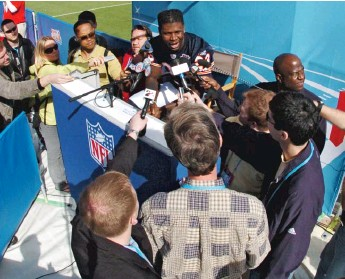 ?? GETTY IMAGES ?? The Bears' Devin Hester speaks during media day in the week leading up to Super Bowl XLI.