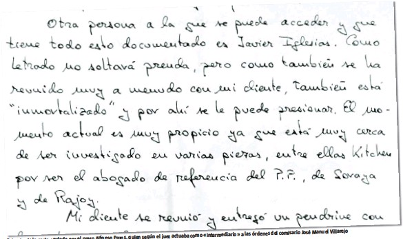?? LA RAZÓN ?? Villarejo del comisario José Manuel actuaba como «intermediario» a las órdenes Pazos, quien según el juez Extracto de la carta enviada por el preso Alfonso