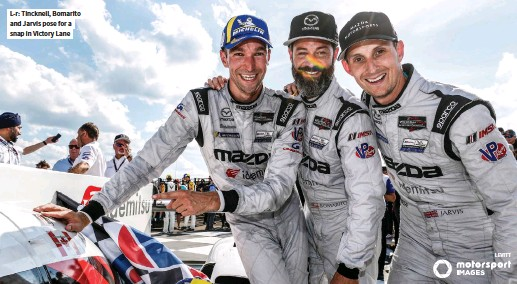 ??  ?? L-r: Tincknell, Bomarito and Jarvis pose for a snap in Victory Lane LEVITT