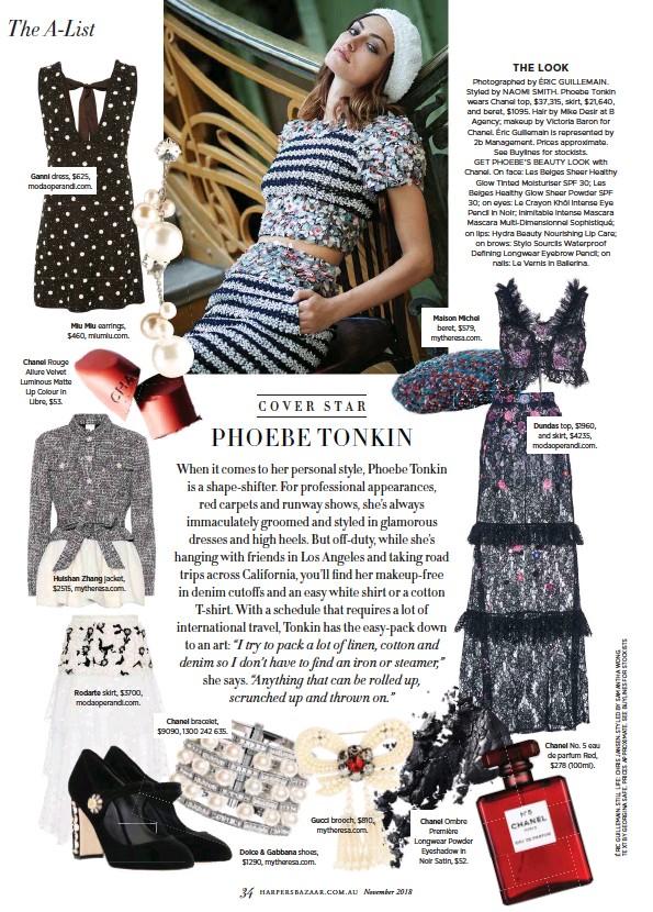 PressReader - Harper\'s Bazaar (Australia): 2018-10-15 - Phoebe Tonkin.