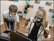 ?? Brian van der Brug Los Angeles Times ?? HOLLY MITCHELL, right, reacted in November during her win for the L.A. County supervisor seat.