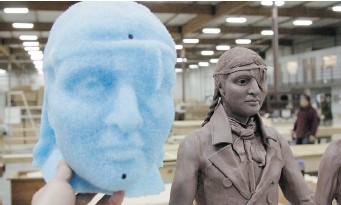 ?? JEAN-SEBASTIEN GAUTHIER ?? Half-scale model shown beside head of full-sized foam model.