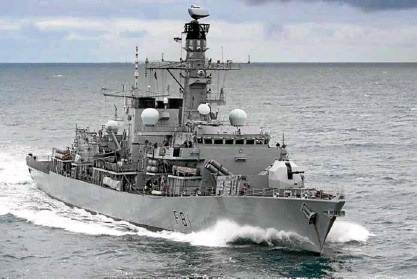 ?? FROMWWW.ROYALNAVY.MOD.UK —PHOTOTAKEN ?? NAVAL MISSION The antisubmar­ine frigate HMSSutherl­and will join the HMSAlbion and the HMSArgyll in Britain's first naval deployment to the South China Sea in a generation.
