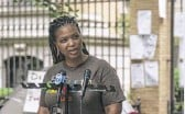 """?? ASHLEE REZIN GARCIA/SUN-TIMES ?? Kiisha Smith, 43, of Austin, said at the rally, """"Too many of us will be homeless after the pandemic."""""""