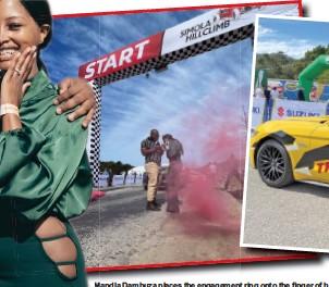 ??  ?? Mandla Dambuza places the engagement ring onto the finger of his new fiancée, Cwenga Manakaza.