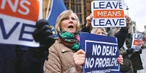 ?? AFP ?? Pro-Brexit demonstrators protest opposite the Houses of Parliament in London yesterday.