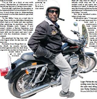 ?? Picture: SANDILENDLOVU ?? Logan Markandan enjoys nothing more than being on the open road, riding his new Harley Davidson.