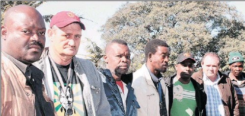 ?? PICTURE: TONY CARNIE ?? Seven of the 10 Assmang workers who were sacked after doctors and the Compensation Commissioner accepted that they had been poisoned by manganese dust. They are, from left, Sibusiso Sibisi, Brian Anderson, Samson Gasa, Simon Miya, Vissy Naicker, Joshua...