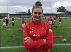 ?? Bild: Privat ?? Ellen svensson, iK Kongahälla, lade av med innebandyn och började spela fotboll efter en jobbig knäskada.