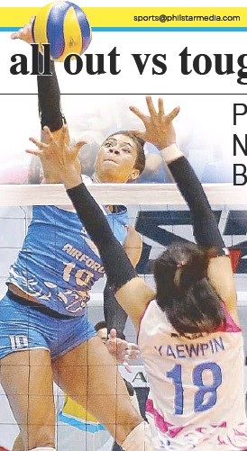 ??  ?? Pocari's Arielle Love unleashes a power hit against Creamline counterpart Kuttika Kaewpin during the opener of their semifinal series in the PVL Reinforced Conference.