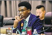 ??  ?? STUDENT REPRESENTATIVE Tyler Okeke, 17, listens during Tuesday's LAUSD board meeting. His resolution to study lowering the voting age passed.