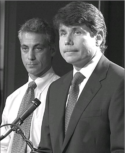 ?? JOHN H. WHITE~SUN-TIMES ?? Then-Rep. Rahm Emanuel (left) listens to then-Gov. Rod Blagojevich in 2004.