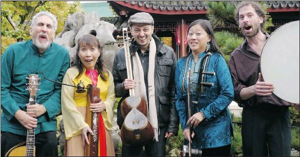 ??  ?? The Good Day Sunshine Band brings together guitar, erhu (Chinese violin), dan bau, accordion, percussion, Celtic harp and much more.