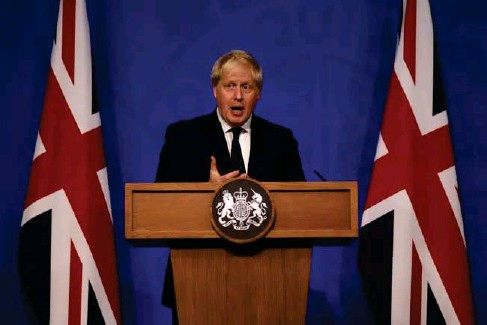 ?? (PA) ?? Flagging: the PM at the media briefing in Downing Street yesterday