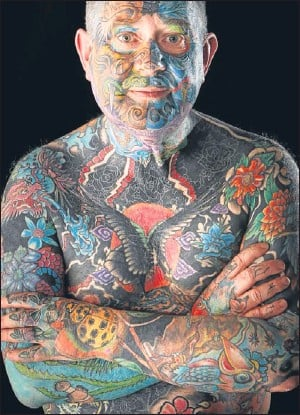 ?? Picture: PA. ?? Gerald McLaughan displays his tattoos during the 4th annual Scottish Tattoo Convention at the Corn Exchange in Edinburgh.