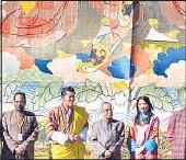 ?? PTI PHOTO ?? Prez Pranab Mukherjee (centre) with King of Bhutan Jigme Khesar Namgyel Wangchuck, Queen Jetsun Pema and members of his delegation during a ceremonial reception at Tashichhodzong in Thimpu, Bhutan on Friday.