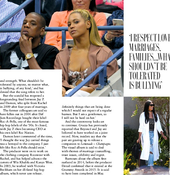 ??  ?? Top: the power couple are set to release a joint record. Above: Rachel has denied Beyoncé's lyrics refer to her