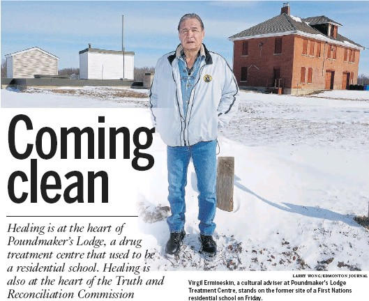 ?? LARRY WONG/EDMONTON JOURNAL ?? Virgil Ermineskin, a cultural adviser at Poundmaker's Lodge Treatment Centre, stands on the former site of a First Nations residential school on Friday.