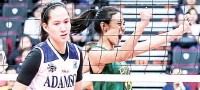 ??  ?? Far Eastern's Celine Domingo, right, pumps her fists after a point scored as Adamson's Eli Soyud despairs in UAAP Season 80 women's volleyball yesterday at the SM Mall of Asia Arena. (Rio Deluvio)