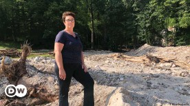 ??  ?? The field where Barbara Angerer's animals used to graze is unrecognizable after weekend flooding