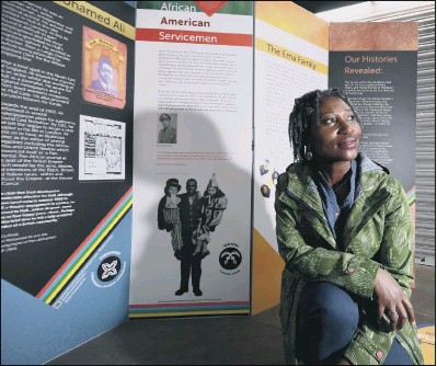 ??  ?? RICH HISTORY: Gifty Burrows' stories from the Africans in Hull and East Yorkshire project feature on panels on Whitefriargate, in the city's Victorian Hepworth Arcade and indoor Trinity Market, as part of Black History Month; Ms Burrows' research, which began in 2016, found evidence that Africans were in the area at least as far back as 1770.