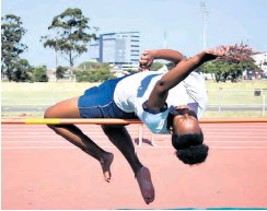 ??  ?? Lebo Tlou hits the crossbar in the high jump