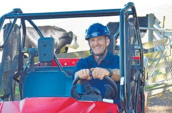 ??  ?? EIT tutor Warren Hales driving a side-by-side vehicle around the EIT Farm.