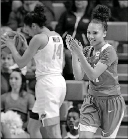 ?? Bryan Terry/The Associated Press ?? Brooke McCarty of Texas celebrates in front of Oklahoma State's Braxtin Miller after a Texas basket.