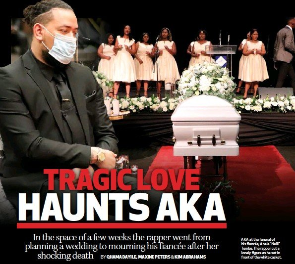 """??  ?? AKA at the funeral of his fiancée, Anele """"Nelli"""" Tembe. The rapper cut a lonely figure as he sat in front of the white casket."""