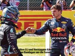 ??  ?? Hamilton (l.) und Verstappen kämpfen mit harten Bandagen um die Formel 1-WM.