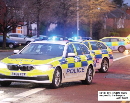 ?? ANDY BAKER ?? FATAL COLLISION: Police respond to the tragedy