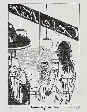 """??  ?? Matthias Friedrich Muecke: """"Guten Tag ich bin ..."""", Grafik zu Marion Braschs Roman """"Die irrtümlichen Abenteuer des Herrn Godot"""", Siebdruck auf Bütten"""