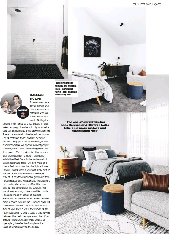 ??  ?? The refined mix of textures and surfaces gives Hannah and Clint's space elegance and luxe appeal.