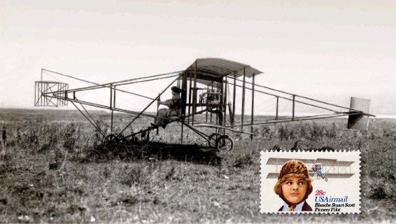 ??  ?? Scott, above, on her first day of instruction in 1910, in the Curtiss Pusher in which she learned to fly. In 1980, Scott was honored on a stamp (inset).