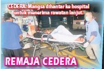 ??  ?? CEDERA: Mangsa dihantar ke hospital untuk menerima rawatan lanjut.