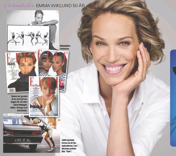 """??  ?? Emma har genom åren varit på omslaget för ett stort antal tidningar. Både i Sverige och utomlands. Minimjölksreklamen. 1998 spelade Emma en av huvudrollarna i Luc Bessons actionfilm """"Taxi""""."""