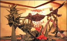 ??  ?? An installation by artist Maripelly Praveen Goud that resembles a landscape