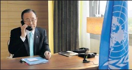 """?? By Evan Schneider, Afp/getty Images ?? U.N. chief: Ban Ki Moon, pictured Thursday in Geneva, said, """"The onus is on the government of Syria to prove that their words will be matched by their deeds at this time."""""""