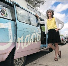 """??  ?? Miki Mappin advocates for changes to the human rights code in Saskatchewan to include """"gender expression"""" and """"gender identity."""" She decorated her Trans Van which is used to raise awareness of gender diversity, in the Pride Parade and for public address."""