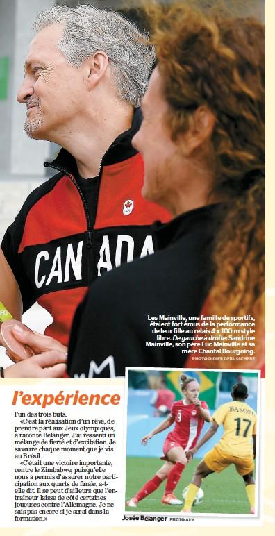 ??  ?? Les Mainville, une famille de sportifs, étaient fort émus de la performance de leur fille au relais 4 x 100 m style libre. De gauche à droite: Sandrine Mainville, son père Luc Mainville et sa mère Chantal Bourgoing.