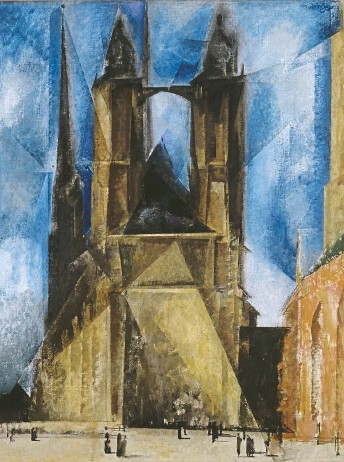 """??  ?? Die prismatische """"Marktkirche in Halle""""von 1930 zählt zu Feiningers bekanntesten Gemälden und hat über Kunstdrucke und Poster unendliche Verbreitung gefunden. In der Sammlung Moderne Kunst der Pinakothek der Moderne befindet sich diese Version, allerdings ist sie derzeit nicht ausgestellt. Foto: © VG Bild-Kunst, Bonn"""