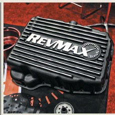 ??  ?? pfit's well known that Rev­max Con­vert­ers builds one of the tough­est 68RFE au­to­mat­ics you can buy, but now its cus­tomers can keep their six-speeds even hap­pier with this ex­tra ca­pac­ity trans­mis­sion pan. The high-temp, black pow­der coated alu­minum pan holds four more quarts of ATF than stock, fea­tures in­ter­nal gues­sets for in­creased rigid­ity, comes with 1/8-inch NPT tem­per­a­ture ports, and ships with stain­less steel mount­ing hard­ware.